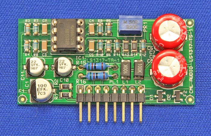 Top view of Single Cross-Coupled Balanced Output Card with NE5532 Op-Amp