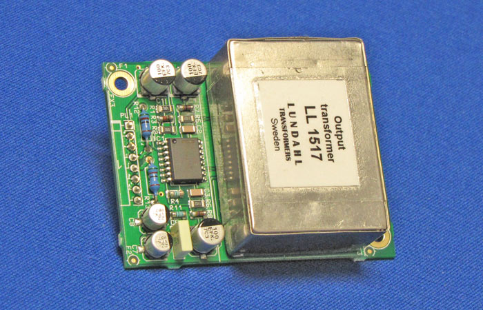 Top view of Transformer Balanced Output Card with Lundahl LL1517